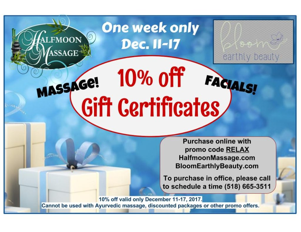 Holiday Specials at Bloom Earthly Beauty and Halfmoon Massage